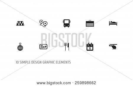 Set Of 10 Editable Journey Icons. Includes Symbols Such As Helicopter, Cutlery, Roadblock And More.