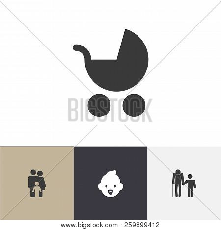 Set Of 4 Editable Kin Icons. Includes Symbols Such As Baby Stroller, Family, Grandpa. Can Be Used Fo