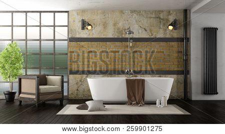 Vintage Bathroom With Modern Bathtub - 3d Rendering