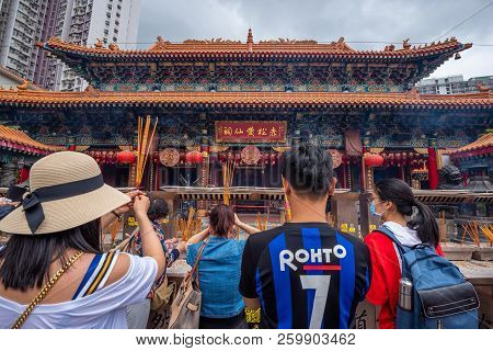 Hong Kong - May 5,2018 : The Buddhist People And Tourist Visiting Wong Tai Sin Temple (also Called S