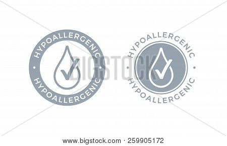Hypoallergenic Tested Logo Icon. Vector Drop Icon Of Hypoallergenic Package Label Or Dermatology Tes
