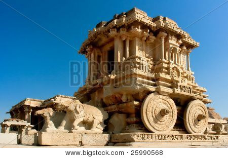 Ornate stone chariot in the Vittala temple in Hampi, Karnataka, India