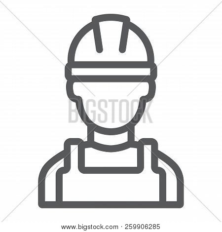 Builder Line Icon, Engineer And Man, Construction Worker Sign, Vector Graphics, A Linear Pattern On