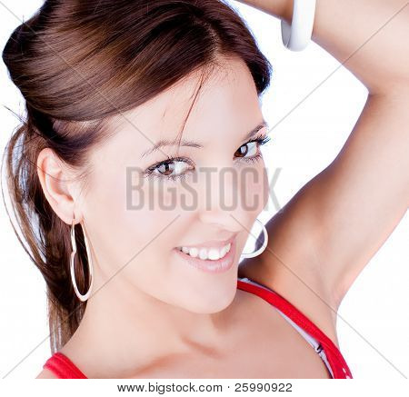 Smiling beautiful woman with white earrings and bracelet, isolated on white background