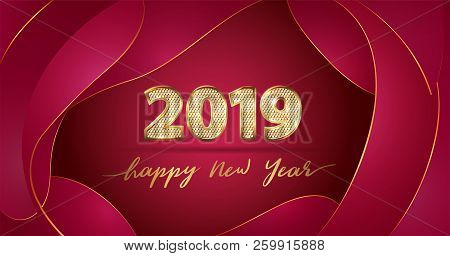 Golden Vector Luxury Text 2019 Happy New Year. Gold Festive Numbers Design With Diamonds Texture. Go