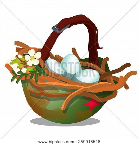 Bird Nest With Eggs Inside Military Helmet Isolated On White Background. Symbol Of Truce And The End