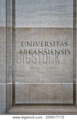 Logo At Entrance To University Of Arkansas