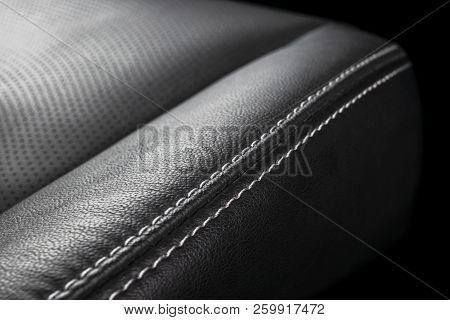 Modern Luxury Car Black Leather Interior. Part Of Leather Car Seat Details With Stitching. Interior
