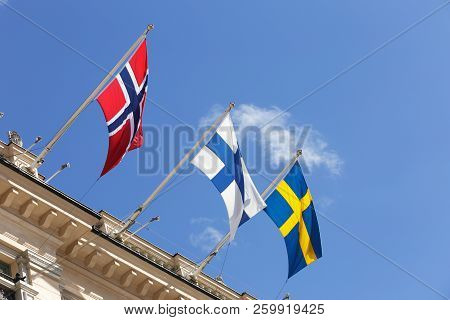 Flags Of  The Nordic States Norway, Finland And Sweden.