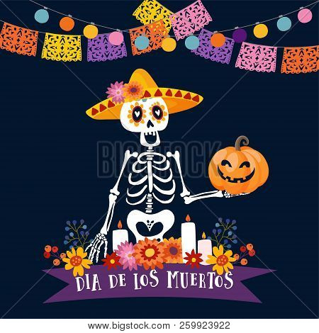 Halloween, Dia De Los Muertos Greeting Card. Mexican Day Of The Dead Invitation. Skeleton With Sombr