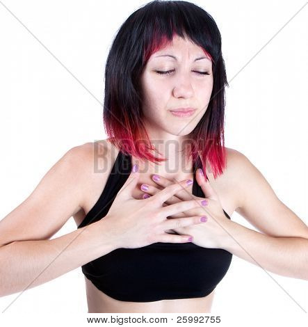 expressive portrait of woman who has chest pain, studio shot