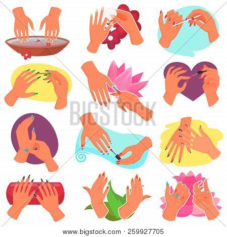 Manicure vector manicured hands and manicuring fingernails with nail file by manicurist in nail bar illustration set of beautiful mani with polish isolated on white background poster