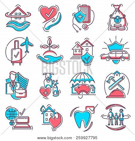 Insurance Icon Vector Life Or Health Ensurance Logo And Insurant Family Or House Protection Illustra