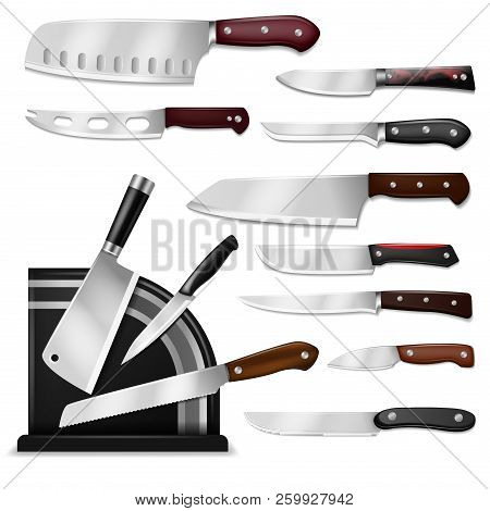 Knives Vector Butcher Meat Knife Set Chef Cutting With Kitchen Drawknife Or Cleaver And Sharp Knifep