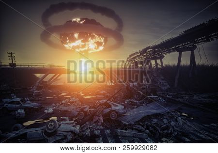nuclear war disaster landscape. 3d concept illustration