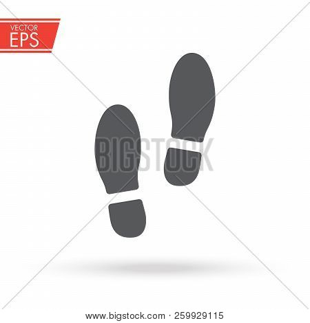 Trail Of Shoes. Boot Foot Print. Footwear Step Illuastration. Leg Mark Symbol. Footmark Sign. Foot I