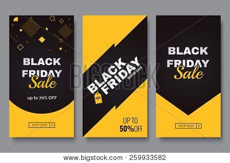 Black Friday Vertical Promotion Banner Set. Sale Banners Design Template. Yellow And Black Geometric