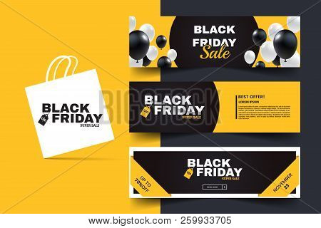 Black Friday Horizontal Promotion Web Banner Set. Sale Banners Design Template. Yellow And Black Geo