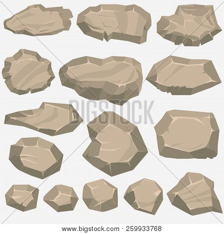 Rock Stone Cartoon In Flat Style. Set Of Different Boulders