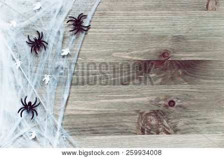 Halloween background with spider web, spiders and ghosts as symbols of Halloween on the wooden background. Halloween festive concept