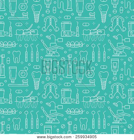 Dentist, Orthodontics Blue Seamless Pattern With Line Icons. Dental Care, Medical Equipment, Braces,