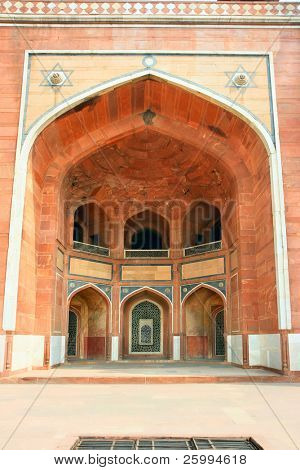 Detail  inside of Humayun's Tomb. Islamic mausoleum. Large red sandstone building decorated with inlaid white marble. Delhi India poster