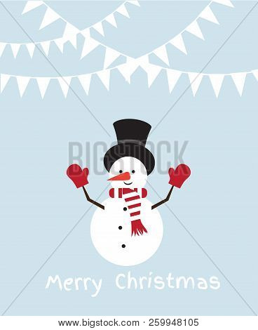Vector Illustration Of A Funny Snowman. Christmas, New Years Background.