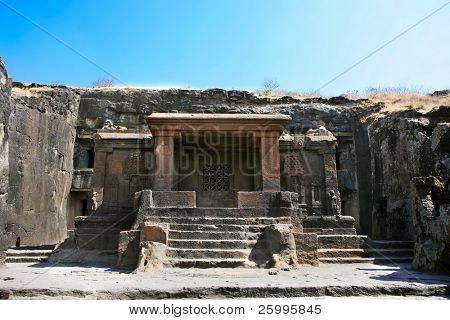 Facade of ancient Ellora rock carved Buddhist temple,near Aurangabad, Maharashtra, India