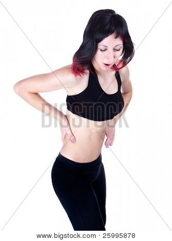 Woman has a Lower back pain, isolated in white