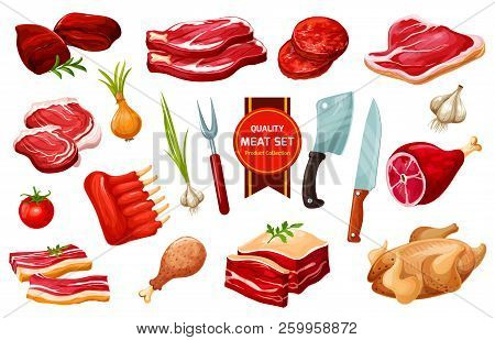 Butchery Meat Products And Poultry, Vegetables And Cutting Tools, Vector. Pork And Beef Filet, Fried