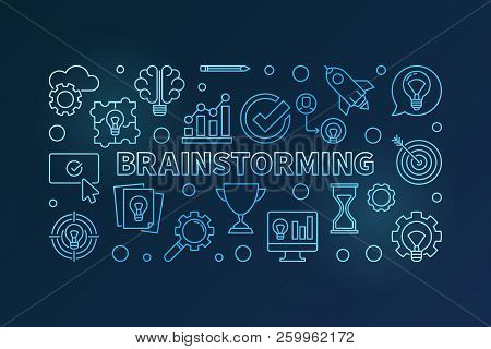Brainstorming Blue Vector Outline Horizontal Illustration. Brainstorm Concept Banner On Dark Backgro