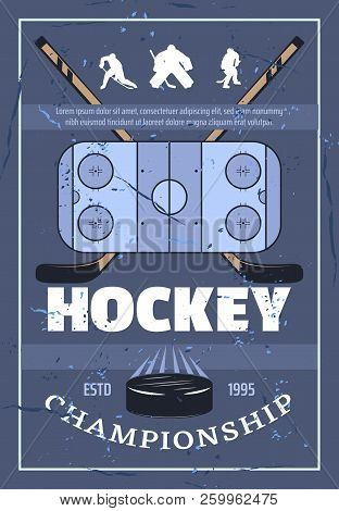 Ice Hockey Championship Retro Poster. Playing Field, Crossed Sticks, Athletic Players And Washer Sym