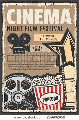 Cinema Film Festival Vector Retro Poster. Popcorn And Camera, Vintage Reel And Projector. Star And V