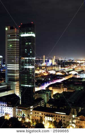 Frankfurt skyline by night