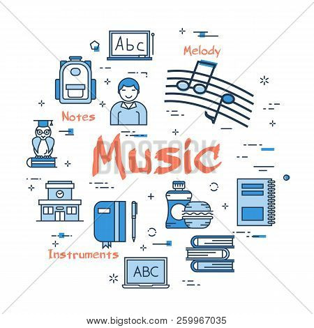 Vector Linear Blue Round Concept Of Music Subject. School Lesson For Children And Education Line Ico