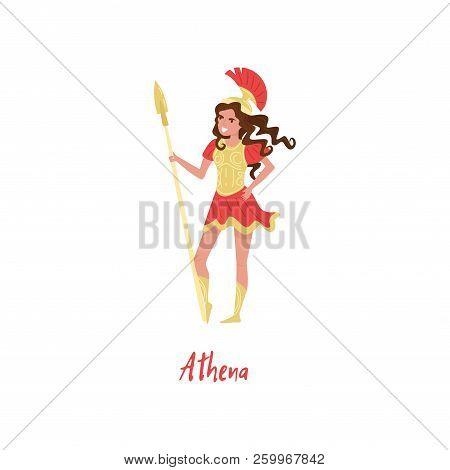 Athena Olympian Greek Goddes, Ancient Greece Myths Cartoon Character Vector Illustration On A White