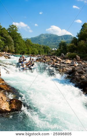 NERETVA, BOSNIA - 25 JULY: Unidentified teams practice at the first day of training for World Rafting Championship in the canyon of River Neretva on July 25, 2009, Bosnia and Herzegovina.