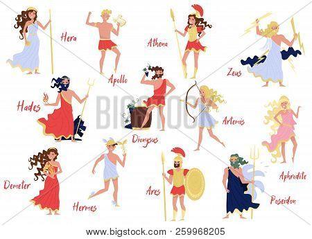 Olympian Greek Gods Set, Hera, Dionysus, Zeus, Demetra, Hermes, Ares, Artemis, Aphrodite, Poseidon,