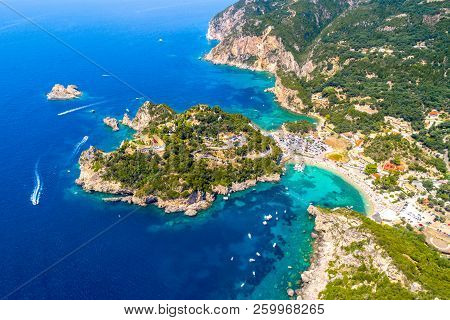 Paleokastritsa Bay On Corfu Island, Ionian Archipelago, Greece