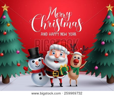 Christmas Vector Characters Like Santa Claus, Reindeer And Snowman Holding Gift With Merry Christmas