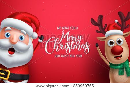 Santa Claus And Reindeer Vector Christmas Characters Waiving Hand With Merry Christmas Greeting In R