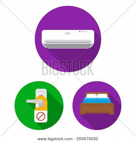 Hotel And Equipment Flat Icons In Set Collection For Design. Hotel And Comfort Vector Symbol Stock W