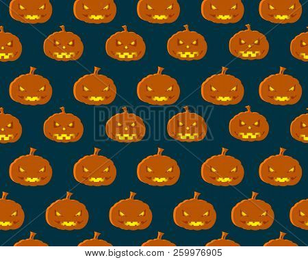 Halloween Seamless Pattern Cartoon Design With Orange Funny Pumpkins Faces On Black Background Flat