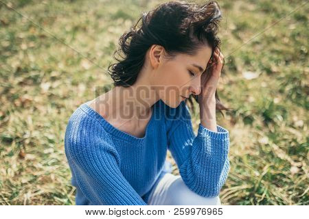 Dreamy Female With Closed Eyes With Hand On Face. Portrait Of Attractive Brunette Caucasian Young Wo