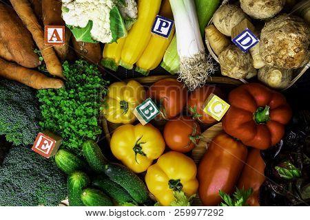 Organic Vegetables Rich In Vitamin As A, B, C, D, P, E