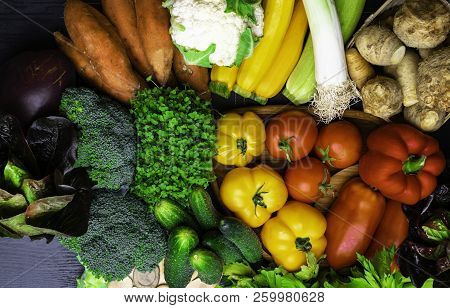 Different Organic Raw Vegetables Background. Healthy Eating Concept