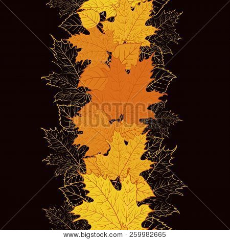 Vector Floral Border Design. Seamless Decorative Floral Ornament With Colorful Autumn Leaves.