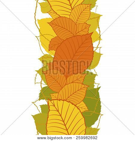 Seamless Vertical Border With Colorful Autumn Leaves And Silhouettes For Bright Season Design. Abstr