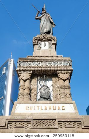 The monument to Cuauhtemoc at Paseo de la Reforma in Mexico City - Inaugurated in 1887