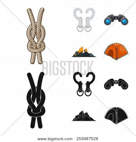 Vector Design Of Mountaineering And Peak Logo. Set Of Mountaineering And Camp Vector Icon For Stock.